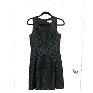 Ann Taylor LOFT Green Leopard Print A-Line Dress